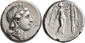SICILY. Syracuse. Agathokles, 317-289 BC. Tetradrachm (Silver, 26 mm, 16.87 g, 10 h), circa 310-306/5. KOPAΣ Head of Kore to right, wearing wreath of ...