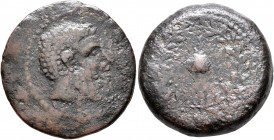ISLANDS OFF SICILY, Melita. Circa 220-218 BC. AE (Bronze, 24 mm, 9.40 g, 6 h). Head of Eshmun to right. Rev. Uncertain domed object (sacrificial cap?)...