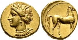 CARTHAGE. Circa 350-320 BC. Stater (Gold, 18 mm, 9.60 g, 3 h). Head of Tanit to left, wearing wreath of grain ears, triple-pendant earring and elabora...