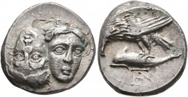 MOESIA. Istros. Circa 280-256/5 BC. Drachm (Subaeratus, 18 mm, 5.78 g), a contemporary plated imitation. Two facing male heads side by side, one uprig...