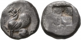 THRACE. Abdera. Circa 520/15-500 BC. Drachm (Silver, 14 mm, 3.57 g). Griffin seated left, raising right forepaw. Rev. Quadripartite incuse square. HGC...