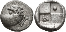 THRACE. Chersonesos. Circa 386-338 BC. Hemidrachm (Silver, 13 mm, 2.41 g), a contemporary imitation. Forepart of a lion to right, head turned back to ...