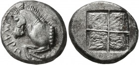 THRACE. Maroneia. Circa 510/05-495/0 BC. Drachm (Silver, 15 mm, 3.76 g). MAPΩ Forepart of a horse to left. Rev. Quadripartite incuse square. Schönert-...
