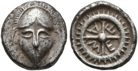 THRACE. Mesambria. 4th century BC. Obol (Silver, 8 mm, 0.60 g, 7 h). Facing crested Corinthian helmet. Rev. M-E-T-A within wheel of four spokes. SNG S...