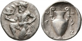 ISLANDS OFF THRACE, Thasos. Circa 412-404 BC. Trihemiobol (Silver, 13 mm, 0.79 g, 10 h). Bald satyr kneeling half-left, holding kantharos in his right...