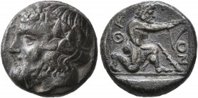 ISLANDS OFF THRACE, Thasos. Circa 411-340 BC. Drachm (Silver, 15 mm, 3.89 g, 6 h). Head of Dionysos to left, wearing wreath of ivy and fruit. Rev. ΘAΣ...