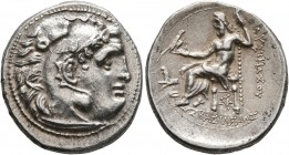 KINGS OF THRACE. Lysimachos, 305-281 BC. Drachm (Silver, 19 mm, 4.37 g, 1 h), in the types of Alexander, Kolophon, circa 299/8-297/6 BC. Head of Herak...