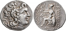 KINGS OF THRACE. Lysimachos, 305-281 BC. Tetradrachm (Silver, 30 mm, 16.69 g, 12 h), Byzantion, circa 100-96. Diademed head of Alexander the Great to ...