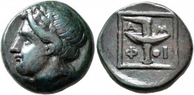 MACEDON. Amphipolis. Circa mid 4th century BC. AE (Bronze, 17 mm, 5.95 g, 2 h). Laureate head of Apollo to left. Rev. A-M/Φ-I Racing torch; all within...