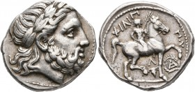 KINGS OF MACEDON. Philip II, 359-336 BC. Tetradrachm (Silver, 25 mm, 14.35 g, 7 h), Amphipolis, struck under Kassander, Philip IV, or Antipater, circa...