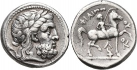KINGS OF MACEDON. Philip II, 359-336 BC. Tetradrachm (Silver, 26 mm, 14.18 g, 9 h), Amphipolis, struck under Kassander, circa 307-297. Laureate head o...