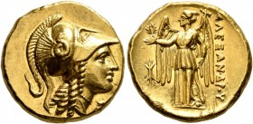 KINGS OF MACEDON. Alexander III 'the Great', 336-323 BC. Stater (Gold, 18 mm, 8.65 g, 3 h), Amphipolis, struck under Antipater, circa 325-319. Head of...