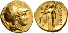 KINGS OF MACEDON. Alexander III 'the Great', 336-323 BC. Stater (Gold, 18 mm, 8.60 g, 10 h), Amphipolis, struck under Antipater, circa 325-319. Head o...