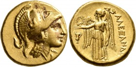 KINGS OF MACEDON. Alexander III 'the Great', 336-323 BC. Stater (Gold, 18 mm, 8.60 g, 7 h), Amphipolis, struck under Antipater, circa 325-319. Head of...