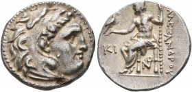 KINGS OF MACEDON. Alexander III 'the Great', 336-323 BC. Drachm (Silver, 18 mm, 4.00 g, 8 h), Lampsakos, struck under Antigonos I Monophthalmos, circa...