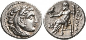 KINGS OF MACEDON. Alexander III 'the Great', 336-323 BC. Drachm (Silver, 17 mm, 4.30 g, 1 h), Miletos, struck under Philoxenos, 325-323. Head of Herak...