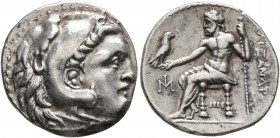 KINGS OF MACEDON. Alexander III 'the Great', 336-323 BC. Drachm (Silver, 19 mm, 4.26 g, 3 h), Miletos, circa 295-275. Head of Herakles to right, weari...