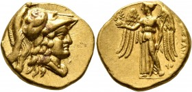 KINGS OF MACEDON. Alexander III 'the Great', 336-323 BC. Stater (Gold, 19 mm, 8.60 g, 12 h), Tyros, struck under Menon or Menes, circa 330-327. Head o...