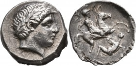 KINGS OF PAEONIA. Patraos, circa 335-315 BC. Tetradrachm (Silver, 25 mm, 12.62 g, 12 h). Laureate head of Apollo to right. Rev. [ΠΑΤΡΑΟ]Υ Paeonian hor...