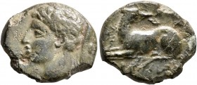 AKARNANIA. Argos Amphilochikon. Circa 330-300 BC. AE (Bronze, 17 mm, 2.88 g, 12 h). Head of Hermes to left, petasos hanging from neck. Rev. APΓEIΩN Do...