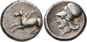 AKARNANIA. Leukas. Circa 350-320 BC. Stater (Silver, 20 mm, 8.65 g, 1 h). Λ Pegasos flying left. Rev. Head of Athena to left, wearing Corinthian helme...