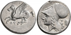 AKARNANIA. Thyrrheion. Circa 320-280 BC. Stater (Silver, 21 mm, 8.57 g, 7 h). ΘY Pegasos flying left. Rev. Head of Athena to left, wearing Corinthian ...