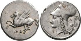 AKARNANIA. Thyrrheion. Circa 320-280 BC. Stater (Silver, 21 mm, 7.55 g, 11 h). ΘY Pegasos flying left. Rev. Head of Athena to left, wearing Corinthian...