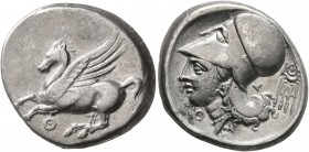AKARNANIA. Thyrrheion. Circa 320-280 BC. Stater (Silver, 21 mm, 8.39 g, 10 h). ΘY Pegasos flying left. Rev. Head of Athena to left, wearing Corinthian...