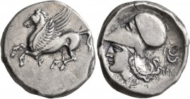 AKARNANIA. Thyrrheion. Circa 320-280 BC. Stater (Silver, 22 mm, 8.57 g, 1 h). ΘY Pegasos flying left. Rev. Head of Athena to left, wearing Corinthian ...
