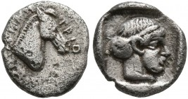 AEOLIS. Demetreion. Circa 450-400 BC. Hemiobol (Silver, 8 mm, 0.45 g, 9 h). ΔHMH-TPIΩ Head of a horse to right. Rev. Head of a nymph to right within s...