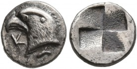 AEOLIS. Kyme. Circa 480-450 BC. Hemiobol (Silver, 8 mm, 0.50 g). K-Y Eagle's head to left. Rev. Quadripartite incuse square of millsail pattern. BMC 1...