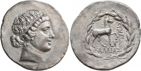 AEOLIS. Kyme. Circa 155-143 BC. Tetradrachm (Silver, 31 mm, 16.18 g, 12 h), Kallias, magistrate. Diademed head of the Amazon Kyme to right. Rev. KYMAI...
