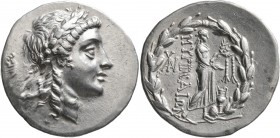 AEOLIS. Myrina. Circa 160-143 BC. Tetradrachm (Silver, 32 mm, 16.75 g, 12 h). Laureate head of Apollo to right. Rev. MΥΡINAIΩN Apollo Grynios standing...