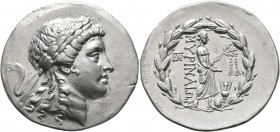 AEOLIS. Myrina. Circa 160-143 BC. Tetradrachm (Silver, 34 mm, 16.33 g, 1 h). Laureate head of Apollo to right. Rev. MΥΡINAIΩN Apollo Grynios standing ...