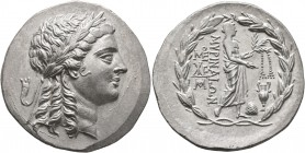 AEOLIS. Myrina. Circa 160-143 BC. Tetradrachm (Silver, 32 mm, 16.41 g, 12 h). Laureate head of Apollo to right. Rev. MΥΡINAIΩN Apollo Grynios standing...
