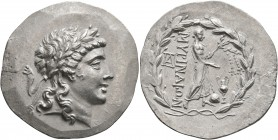AEOLIS. Myrina. Circa 160-143 BC. Tetradrachm (Silver, 37 mm, 16.11 g, 12 h). Laureate head of Apollo to right. Rev. MΥΡINAIΩN Apollo Grynios standing...