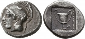LESBOS. Methymna. Circa 450/40-406/379 BC. Drachm (Silver, 15 mm, 3.13 g, 5 h). Head of Athena to left, wearing crested Attic helmet. Rev. M-A-Θ Kanth...