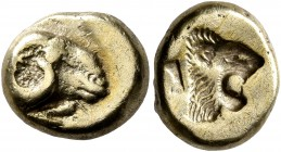 LESBOS. Mytilene. Circa 521-478 BC. Hekte (Electrum, 11 mm, 2.46 g, 3 h). Head of a ram to right; below, rooster standing left, pecking at the ground....