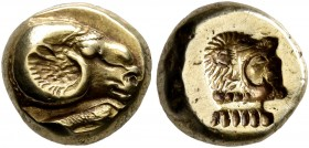 LESBOS. Mytilene. Circa 521-478 BC. Hekte (Electrum, 10 mm, 2.61 g, 7 h). Head of a ram to right; below, rooster standing left, pecking at the ground....