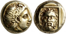 LESBOS. Mytilene. Circa 377-326 BC. Hekte (Electrum, 10 mm, 2.58 g, 1 h). Head of Dionysos to right, wearing wreath of ivy and fruit. Rev. Facing head...