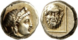 LESBOS. Mytilene. Circa 377-326 BC. Hekte (Electrum, 11 mm, 2.58 g, 12 h). Head of Dionysos to right, wearing wreath of ivy and fruit. Rev. Bald facin...
