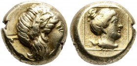 LESBOS. Mytilene. Circa 377-326 BC. Hekte (Electrum, 10 mm, 2.61 g, 11 h). Laureate head of Apollo to right. Rev. Head of a female to right within lin...