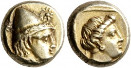 LESBOS. Mytilene. Circa 377-326 BC. Hekte (Electrum, 10 mm, 2.54 g, 1 h). Head of Kabeiros to right, wearing wreathed cap; two stars flanking. Rev. He...