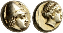 LESBOS. Mytilene. Circa 377-326 BC. Hekte (Electrum, 10 mm, 2.55 g, 7 h). Head of Kabeiros to right, wearing wreathed cap; two stars flanking. Rev. He...