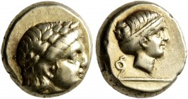 LESBOS. Mytilene. Circa 377-326 BC. Hekte (Electrum, 10 mm, 2.54 g, 12 h). Laureate head of Apollo to right. Rev. Head of Artemis to right, her hair i...