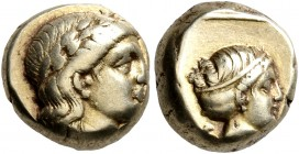 LESBOS. Mytilene. Circa 377-326 BC. Hekte (Electrum, 9 mm, 2.54 g, 12 h). Laureate head of Apollo to right. Rev. Head of Artemis to right, her hair in...