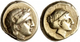 LESBOS. Mytilene. Circa 377-326 BC. Hekte (Electrum, 10 mm, 2.54 g, 12 h). Laureate head of Apollo to right; behind, small serpent. Rev. Head of Artem...