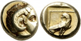 LESBOS. Mytilene. Circa 377-326 BC. Hekte (Electrum, 10 mm, 2.53 g, 8 h). Head of Apollo Karneios to right, wearing horn of Ammon over his ear. Rev. E...
