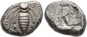 IONIA. Ephesos. Circa 550-500 BC. Drachm (Silver, 13 mm, 3.40 g). Bee with curved wings and coiled tendrils; on right wing, E; on left wing, [Φ]. Rev....
