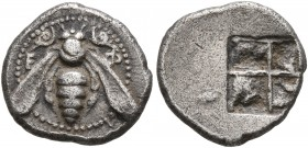 IONIA. Ephesos. Circa 500-420 BC. Diobol (Silver, 12 mm, 1.05 g), Milesian standard. Ε-Φ Bee with curved wings and coiled tendrils. Rev. Quadripartite...